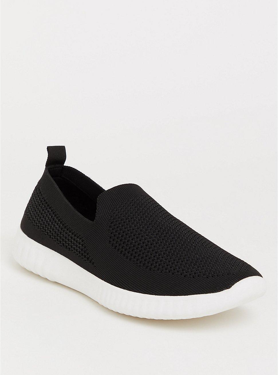 Black Mesh Knit Sneaker (WW), BLACK, hi-res