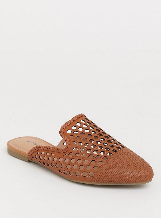 Cognac Woven Slip-On Mule (WW), , hi-res