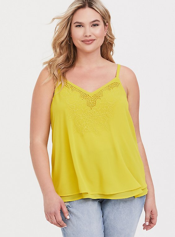 Sophie - Lemon Yellow Embroidered Double Layer Swing Cami, , hi-res