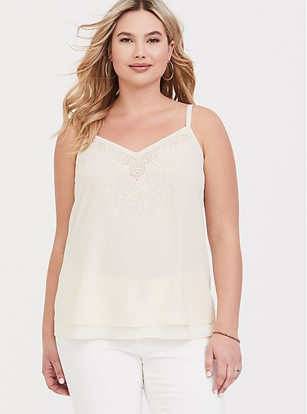 Sophie - Ivory Embroidered Double Layer Swing Cami, CLOUD DANCER/ MELIA FLORAL EMBD, hi-res