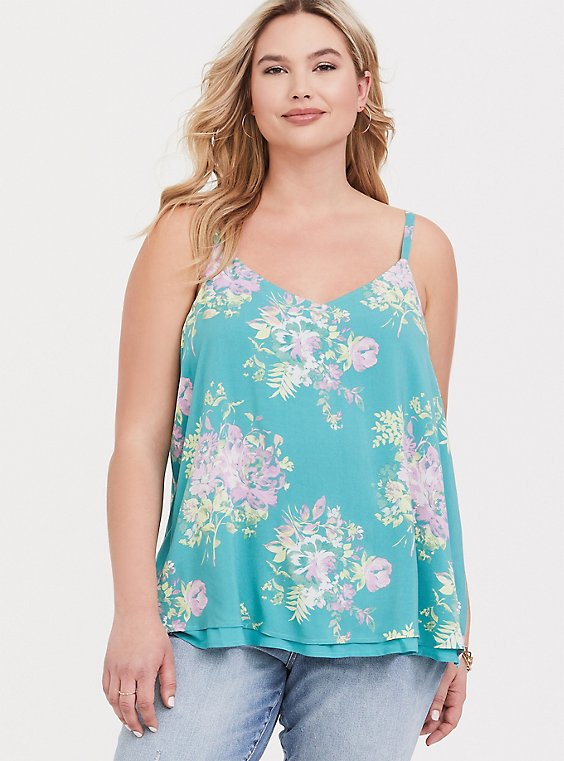 Sophie - Turquoise Floral Challis Double Layer Swing Cami, , hi-res