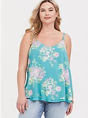 Sophie - Turquoise Floral Challis Double Layer Swing Cami, FLORALS-TURQUISE, hi-res