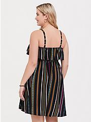 Black & Multi Stripe Challis Skater Dress, STRIPE-BLACK, alternate