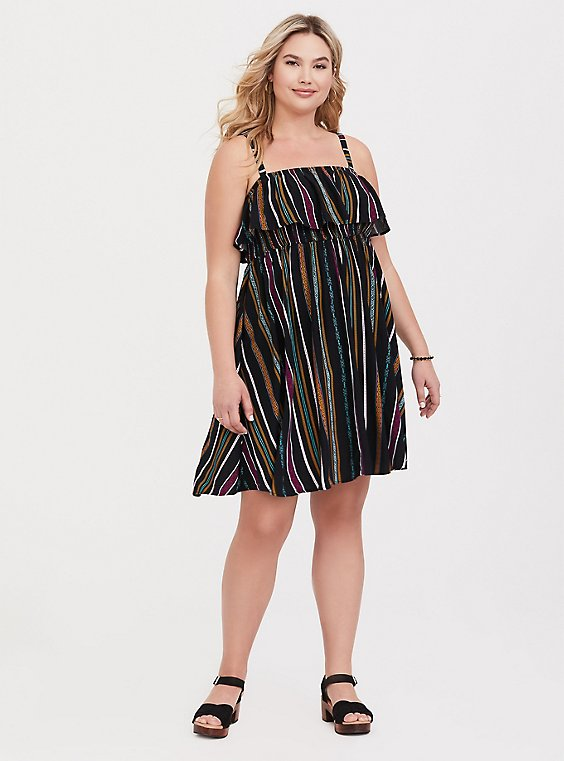 Black & Multi Stripe Challis Skater Dress, , hi-res
