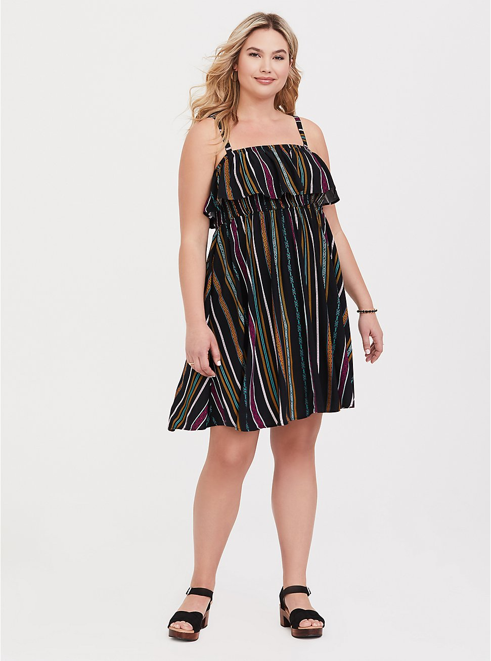 Black & Multi Stripe Challis Skater Dress, STRIPE-BLACK, hi-res