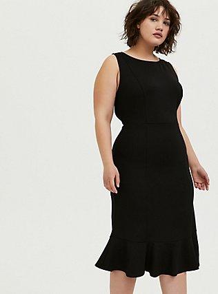 Black Premium Ponte Trumpet Dress, DEEP BLACK, alternate
