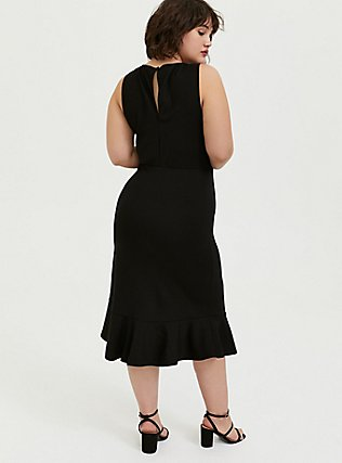 Plus Size Black Premium Ponte Trumpet Dress, DEEP BLACK, alternate