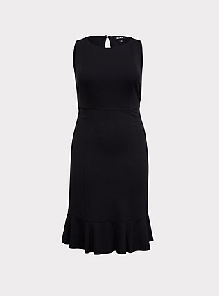 Plus Size Black Premium Ponte Trumpet Dress, DEEP BLACK, flat