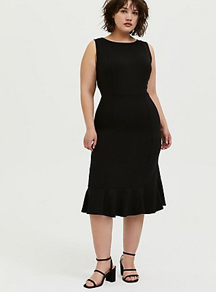 Plus Size Black Premium Ponte Trumpet Dress, DEEP BLACK, hi-res