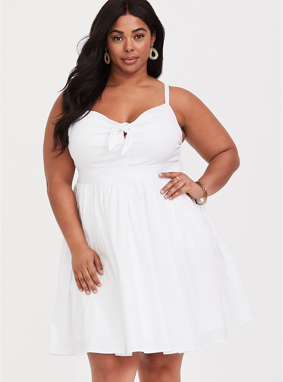 White Tie Front Skater Dress, BRIGHT WHITE, hi-res