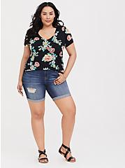Classic Fit V-Neck Tee - Heritage Slub Floral Black, FLORALS-BLACK, alternate