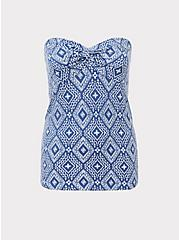 Blue Diamond Knot Front Foxy Tube Top, DIAMOND GEO-BLUE, hi-res
