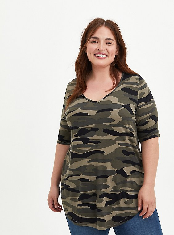 Favorite V-Neck Tunic Tee - Super Soft Camo , , hi-res