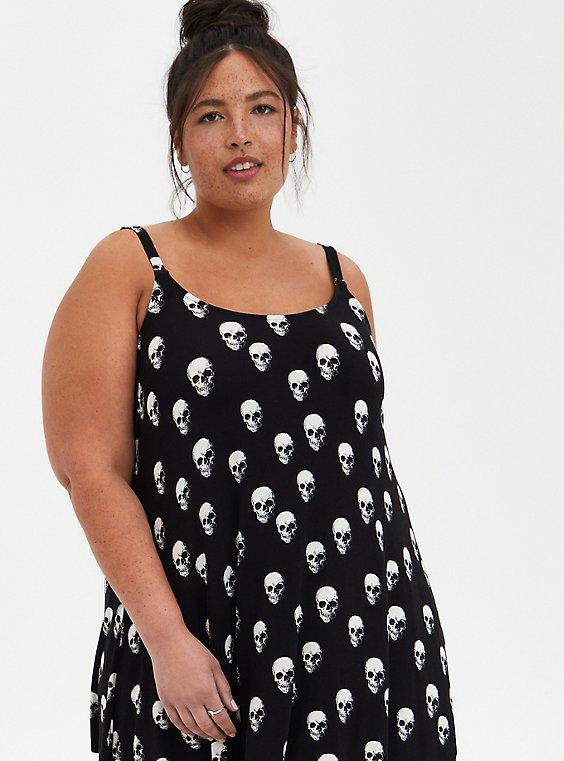 Black Skull Jersey Handkerchief Dress, , hi-res