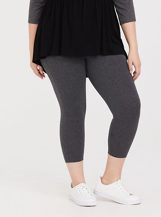 Plus Size Capri Premium Legging - Heathered Dark Grey, , hi-res