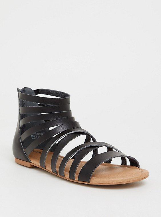 Plus Size Black Faux Leather Gladiator Sandal (WW), , hi-res