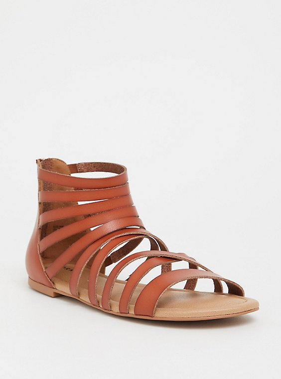 Brown Faux Leather Gladiator Sandal (WW), , hi-res