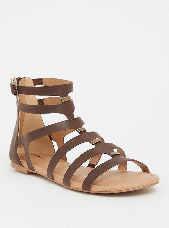 Plus Size Brown Bar Gladiator Sandal (WW), , hi-res