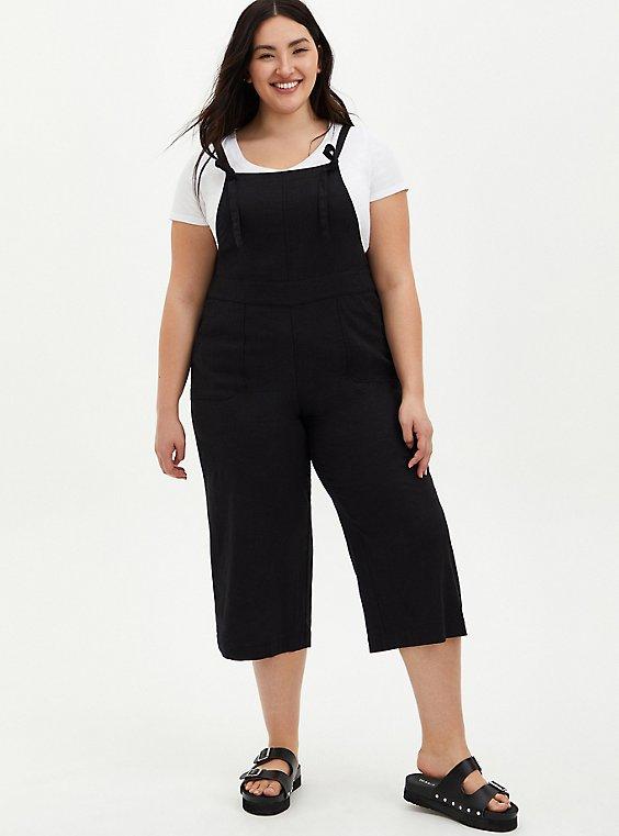 Black Linen Culotte Overall, BLACK, hi-res