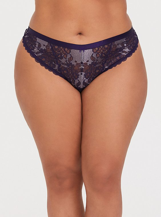 Dark Purple Lace Thong Panty, , hi-res