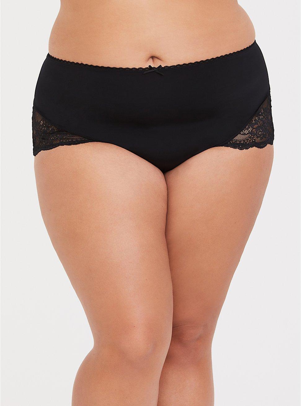 Torrid Curve Body™ Microfiber & Lace Sexy Brief, RICH BLACK, hi-res