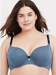 Plus Size Heathered Blue 360° Back Smoothing™ Lightly Lined T-Shirt Bra, BLUE, hi-res
