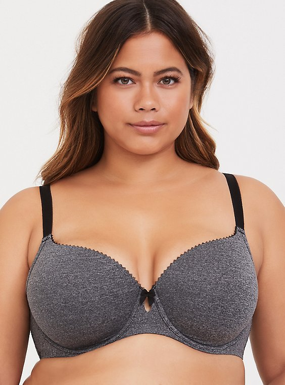 Plus Size Heather Grey Lightly Lined T-Shirt Bra, , hi-res