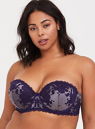 Dark Purple Lace Strappy Push-Up Strapless Multiway Bra, NEW EGGPLANT PURPLE, alternate