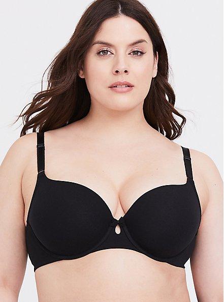 Plus Size Black Cotton 360° Back Smoothing™ Lightly Lined T-Shirt Bra, RICH BLACK, hi-res