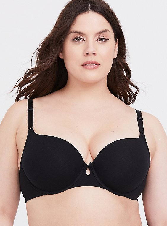 Plus Size Black Cotton 360° Back Smoothing™ Lightly Lined T-Shirt Bra, , hi-res