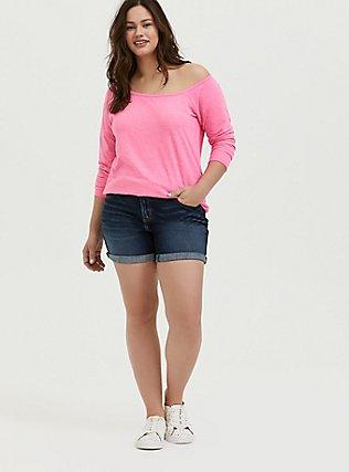 Plus Size Neon Pink Off Shoulder Sweatshirt, KNOCKOUT PINK, alternate
