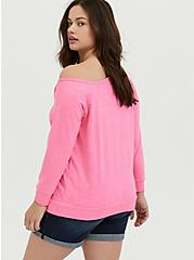 Plus Size Neon Pink Terry Off Shoulder Sweatshirt, KNOCKOUT PINK, alternate