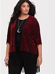 Plus Size Her Universe Jafar Fringe Kimono, RED, hi-res