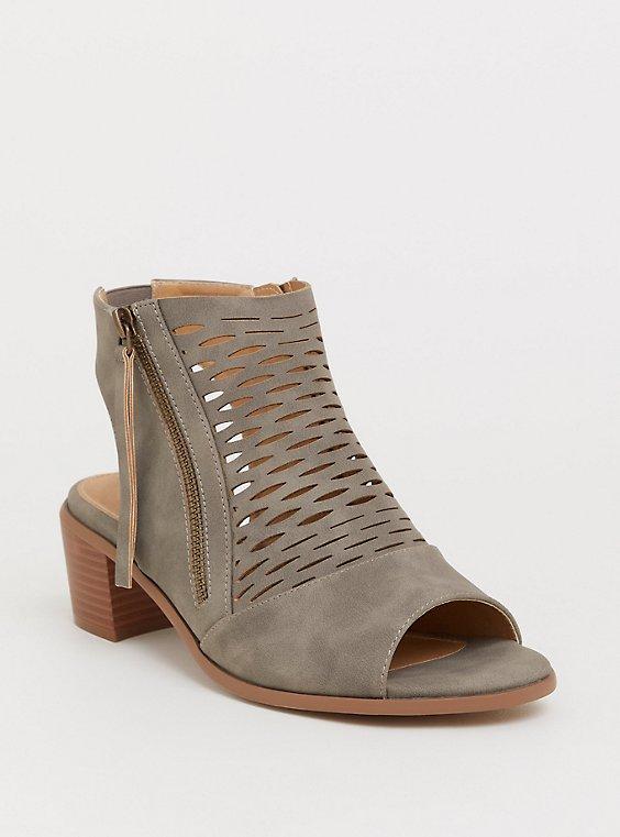 Plus Size Grey Faux Suede Woven Block Heel Bootie (WW), , hi-res