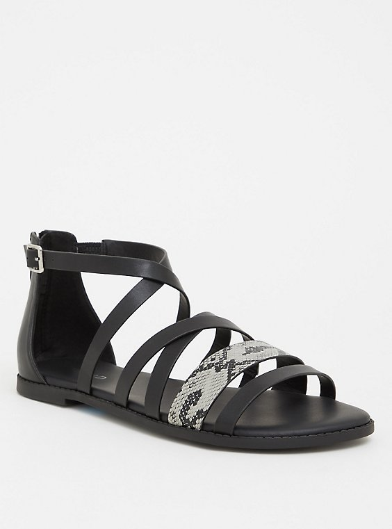 Plus Size Black Snakeskin Print Faux Leather Gladiator Sandal (Wide Width), , hi-res