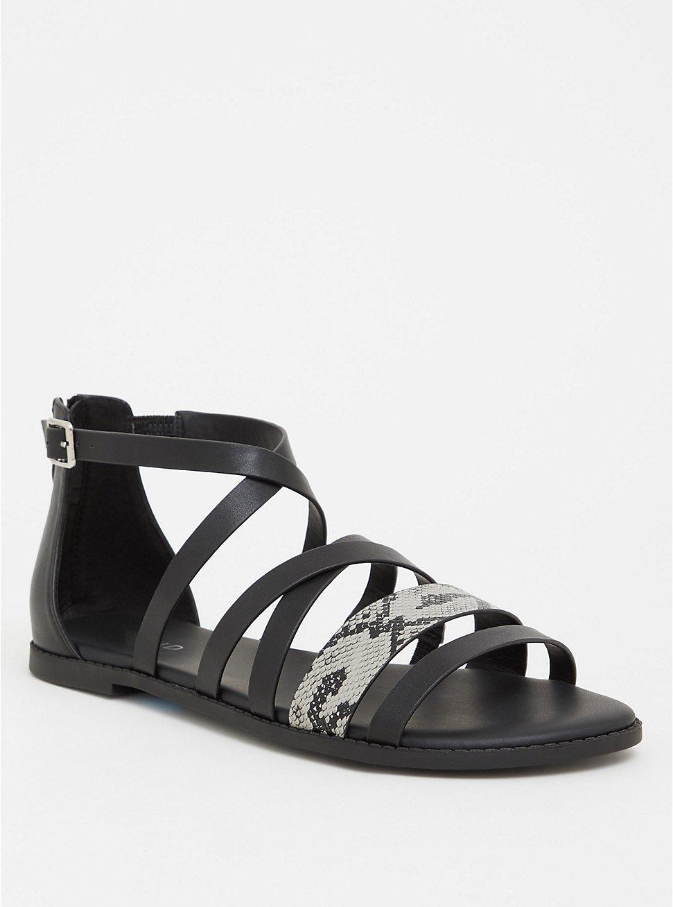 Black Snakeskin Print Faux Leather Gladiator Sandal (Wide Width), BLACK, hi-res