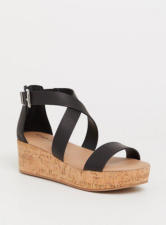 Plus Size Black Crisscross Cork Flatform (WW), , hi-res