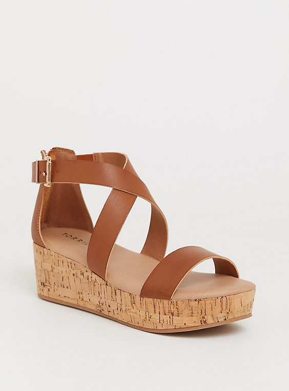 Cognac Faux Leather Double Crisscross Cork Platform (WW), , hi-res