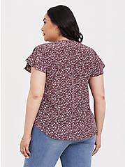 Mauve Purple Dusty Floral Blouse, FLORAL-PURPLE, alternate