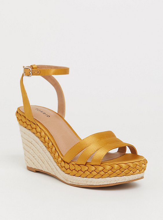 Mustard Satin Braid Espadrille Platform Wedge (WW), , hi-res