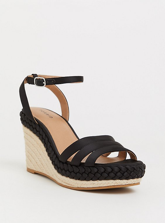 Black Satin Braided Espadrille Platform Wedge (WW), , hi-res
