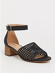 Black Woven Block Heel (WW), BLACK, hi-res