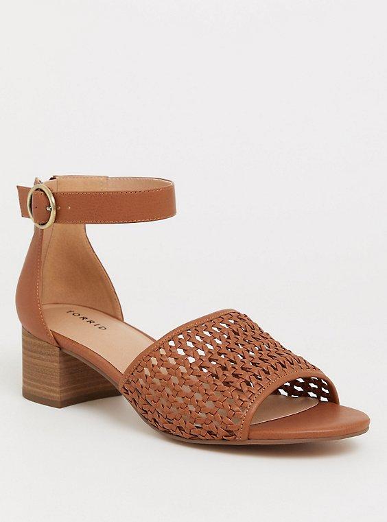 Cognac Woven Block Heel (WW), , hi-res