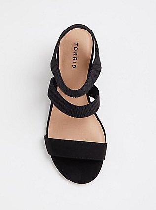 Plus Size Black Elastic Strap Wedge (WW), BLACK, alternate