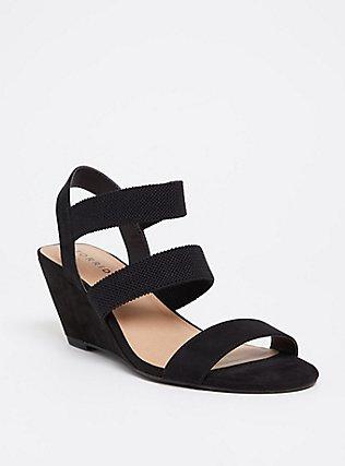 Plus Size Black Elastic Strap Wedge (WW), BLACK, hi-res