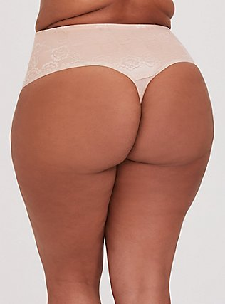 Nude Microfiber 360° Smoothing™ High Waist Thong Panty, ROSE DUST, alternate