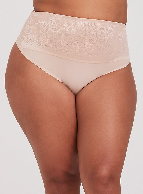 Beige 360° Smoothing™ High Waist Thong Panty, , hi-res
