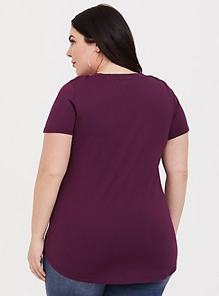Plus Size Classic Fit V-Neck Tee - Heritage Cotton Burgundy Purple, HIGHLAND THISTLE, alternate