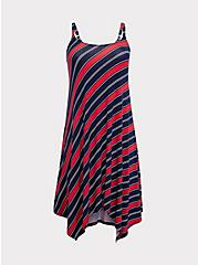 Red & Navy Striped Jersey Handkerchief Trapeze Dress, STRIPE-NAVY, hi-res