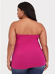 Raspberry Pink Knot Front Foxy Tube Top, STRAWBERRY DAQUIRI, alternate